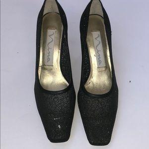 NWOB Nina Evening Shoes color black w glitter. 7M